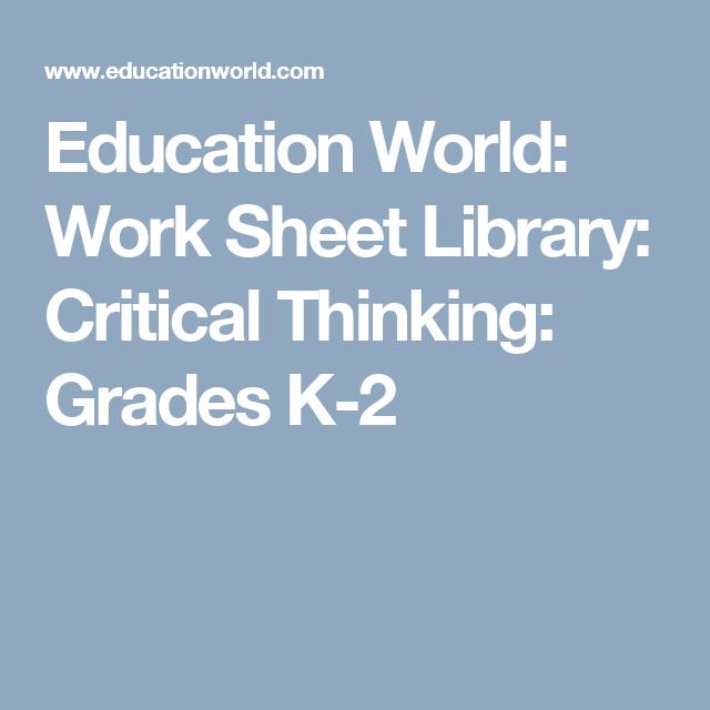 Education World: Work Sheet Library: Critical Thinking: Grades K-2 ...