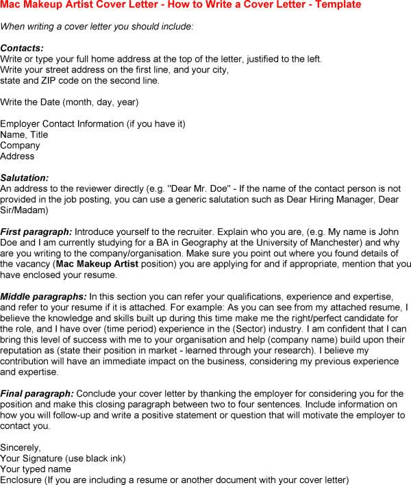 Cover Letter Template For Mac Microsoft - http\/\/wwwresumecareer - makeup artist resumes
