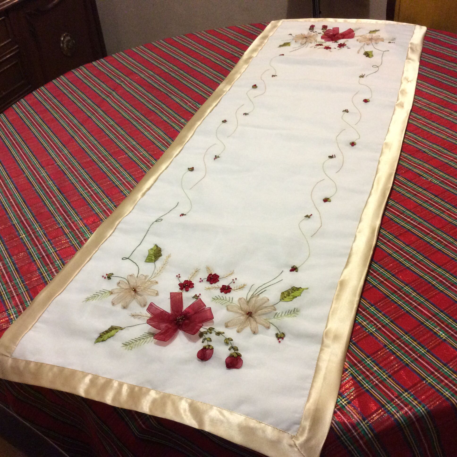 Camino de mesa navide o bordados pinterest mesas for Caminos para mesas redondas
