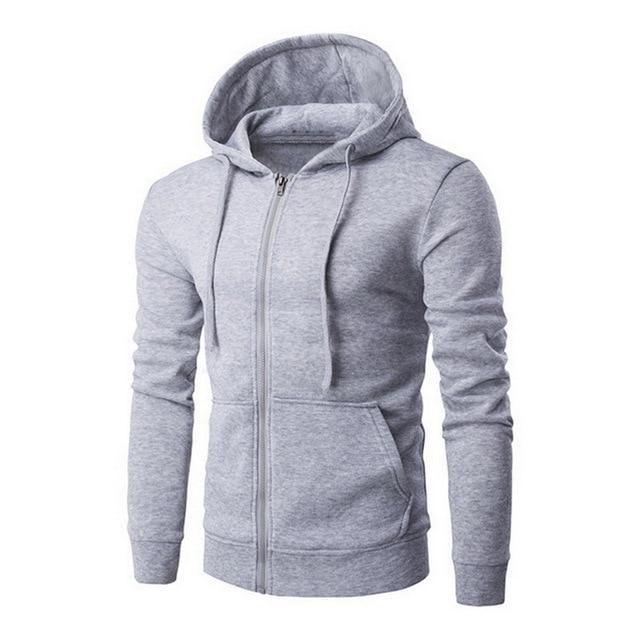 Men Cotton Sudaderas Hombre Solid Color Lapel Pullover Hoodie Sweatshirt