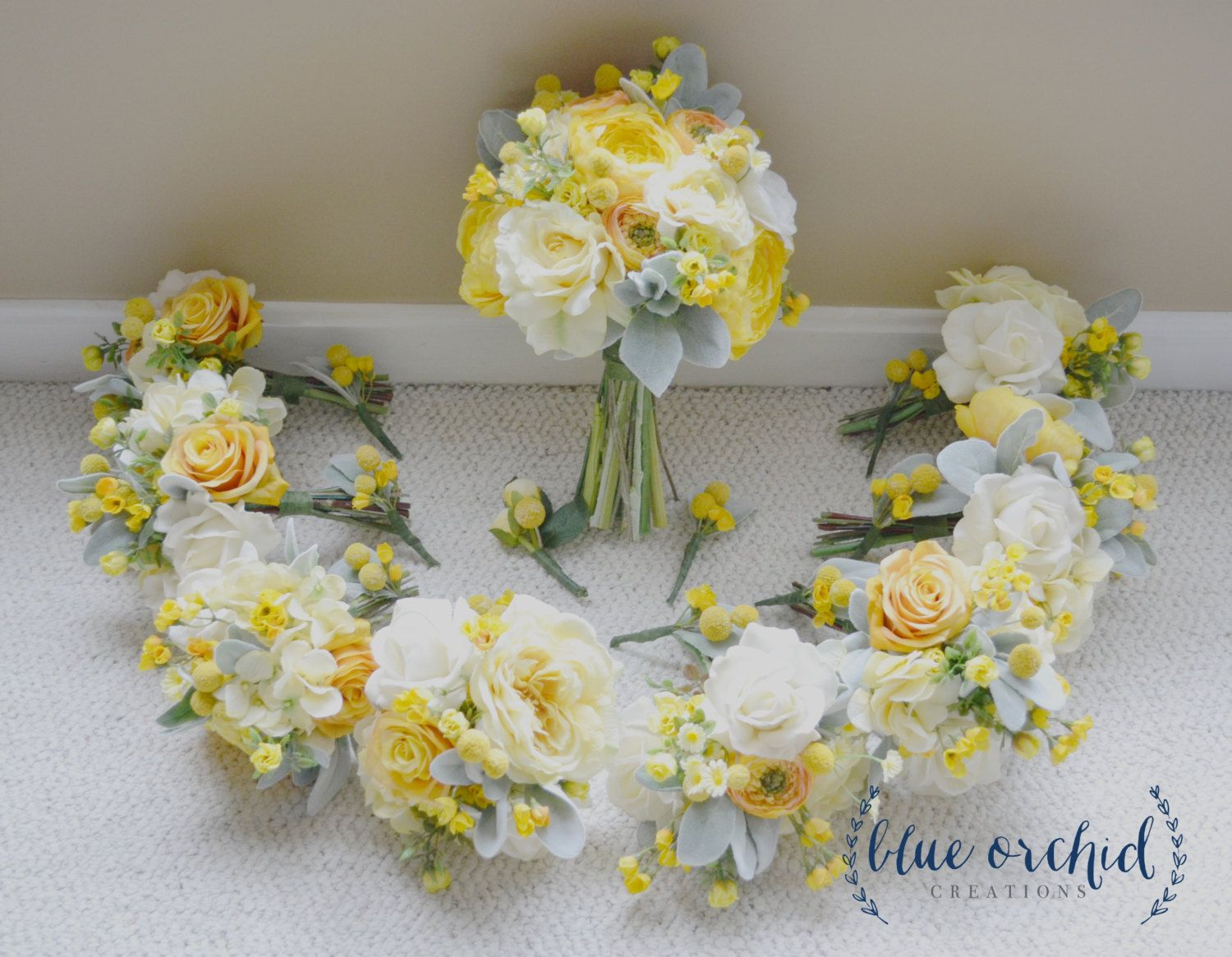 Yellow and Cream Wedding Package - Silk Flower Wedding Bouquets, Boutonnieres, Roses, Peonies, Ranunculus, Billy Buttons, Dusty Miller by blueorchidcreations on Etsy
