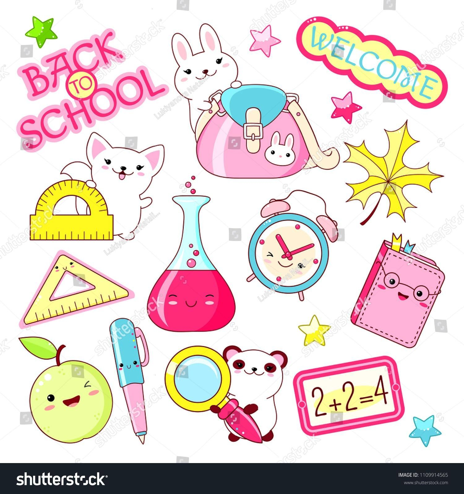 to school. Vector set of education icons in kawaii style. Bunny with bag, cat with ruler, alarm clo