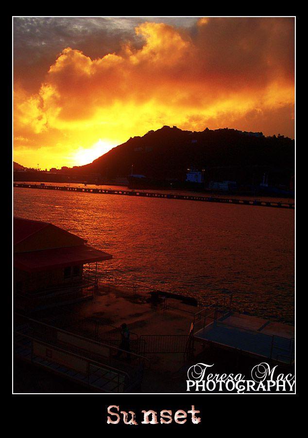 Sunset off the coast of St Thomas