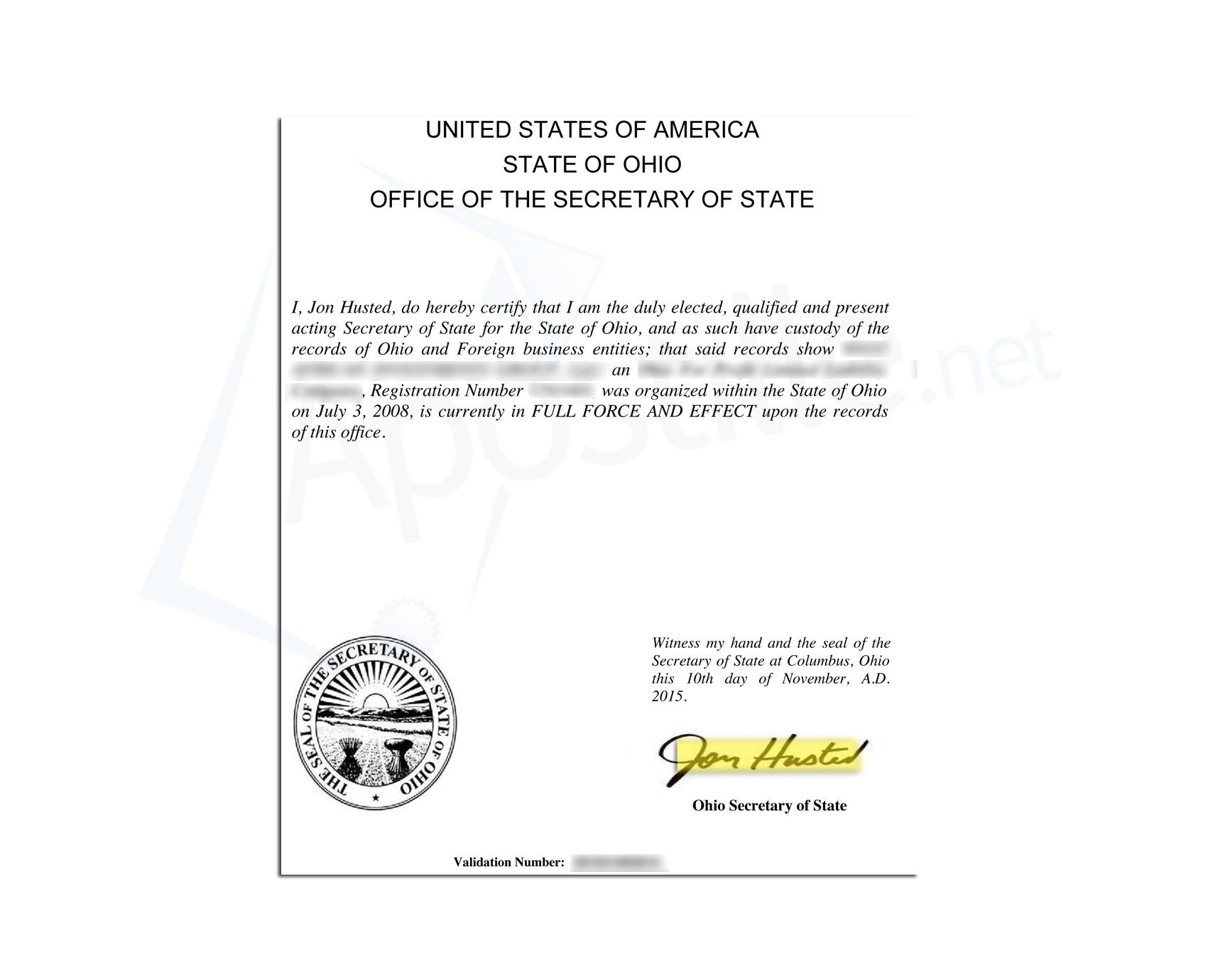 State Of Ohio Certificate Of Good Standing Issued By Jon Husted