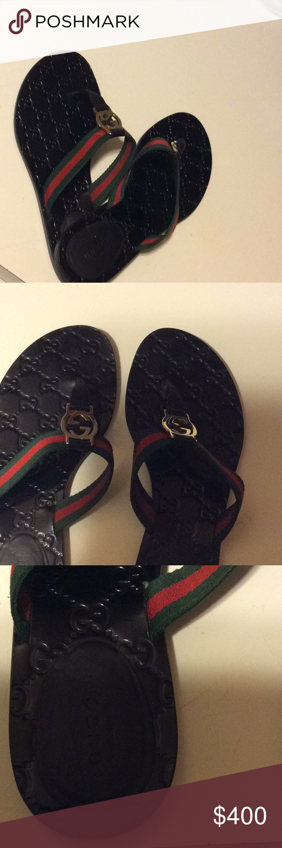 354d11c1c Gucci Women s GG Thong Flats Logo hardware Embossed footbed Signature  colors Lightly used Excellent condition Comes with box and dust bags Gucci  Shoes ...