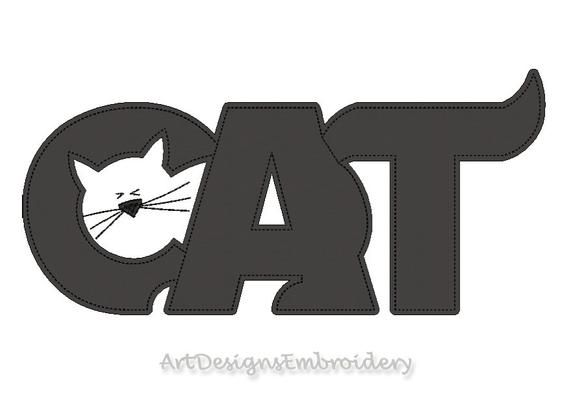 Cat Logo Applique Applique Embroidery Machine Applique Cat Logo
