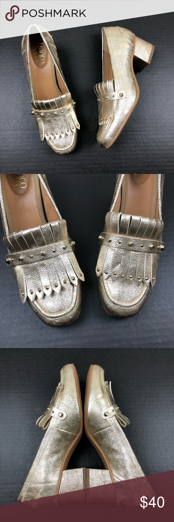 """7e9e7ffbbb8 Franco Sarto Gold Lauryn Fringe Block Heel Loafer Franco Sarto Studded  Details Lauryn Gold Loafers Pre owned in great condition Heel 2"""" Minor  scuff Franco ..."""