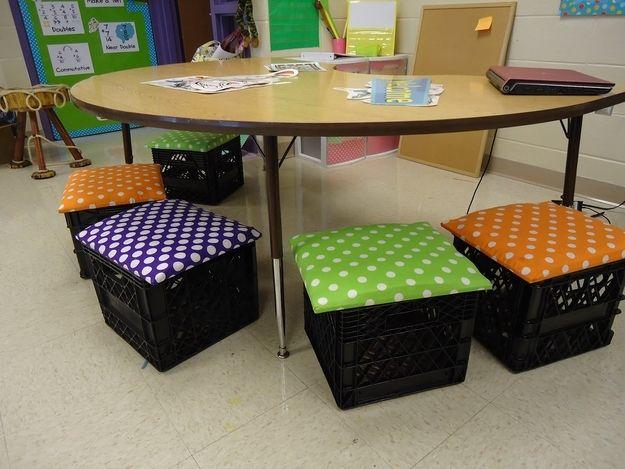 diy classroom milk crate seats