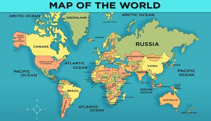 World Map with Countries - General Knowledge for Kids | General ...