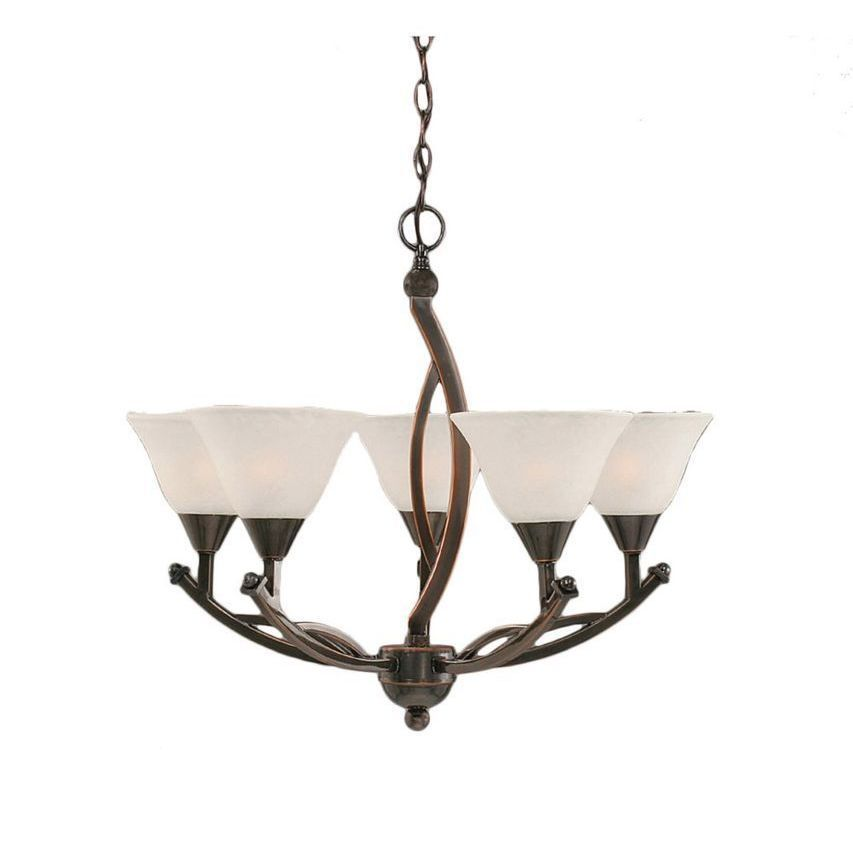 Cambridge 5-Light Copper 22.75 in. Chandelier with White Marble