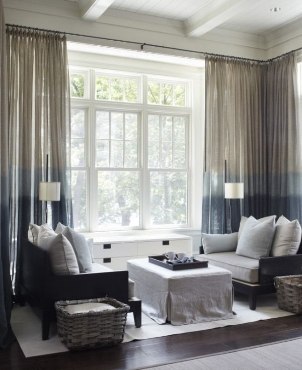 Elegant Drapierte Lichtdurchlässige Gardine Wohnzimmer Einrichten
