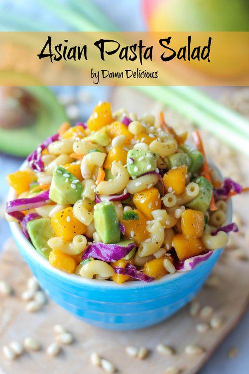 Asian Pasta Salad - slaw, mangoes, avocado, pasta, seasame seeds, asian vinegarette