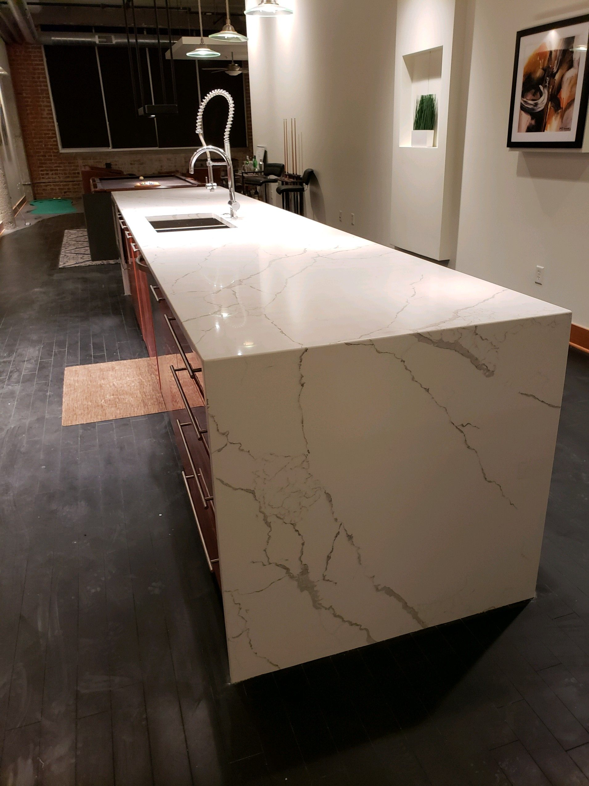 Kitchen Remodel Transformation Tuesday Large Waterfall Edge
