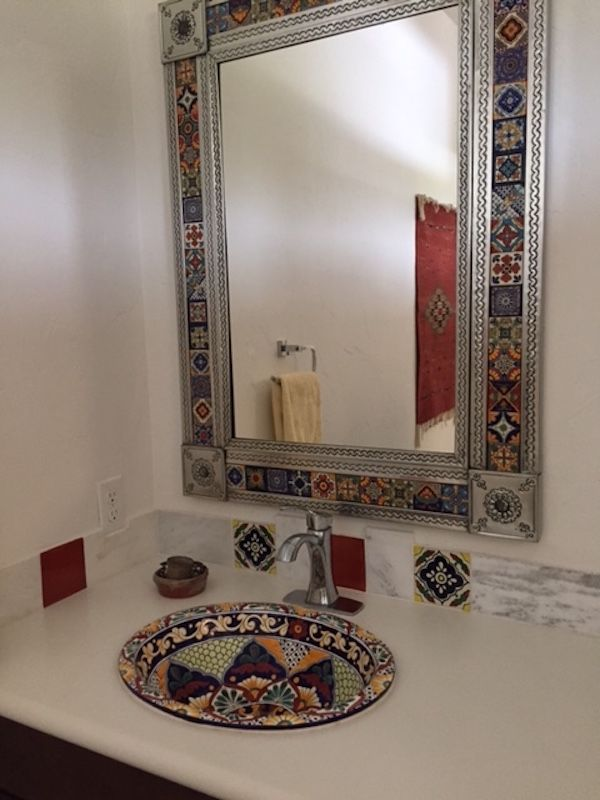 Love The Mirror Use Stock Cabinetry And Laminate Counter But Splurge On The Mirror Southwest Themes Bathroom Bathroom Gallery Spanish Style Bathrooms