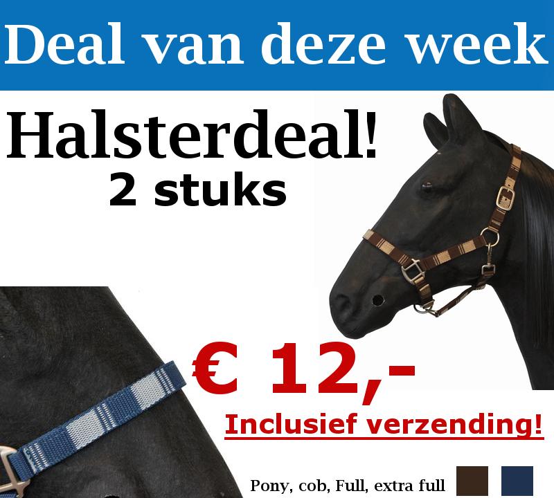 http://happyhorsedeal.nl/ Nu € 12,- De deal van deze week bestaat een 2 top kwaliteit nylonhalsters! U kunt hier bij kiezen uit diverse kleuren!