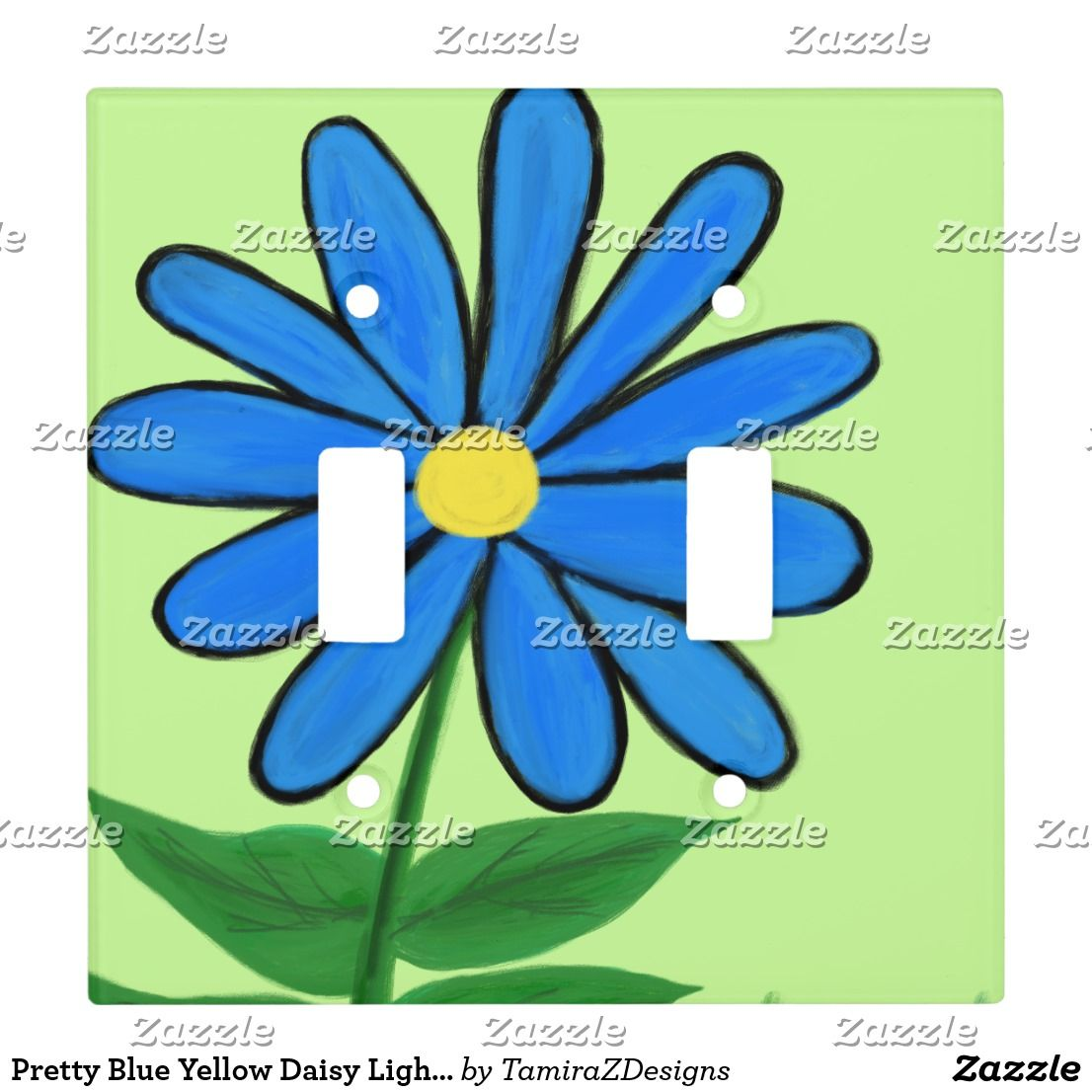 Pretty Blue Yellow Daisy Light Switch Cover | Toggle light switch ...