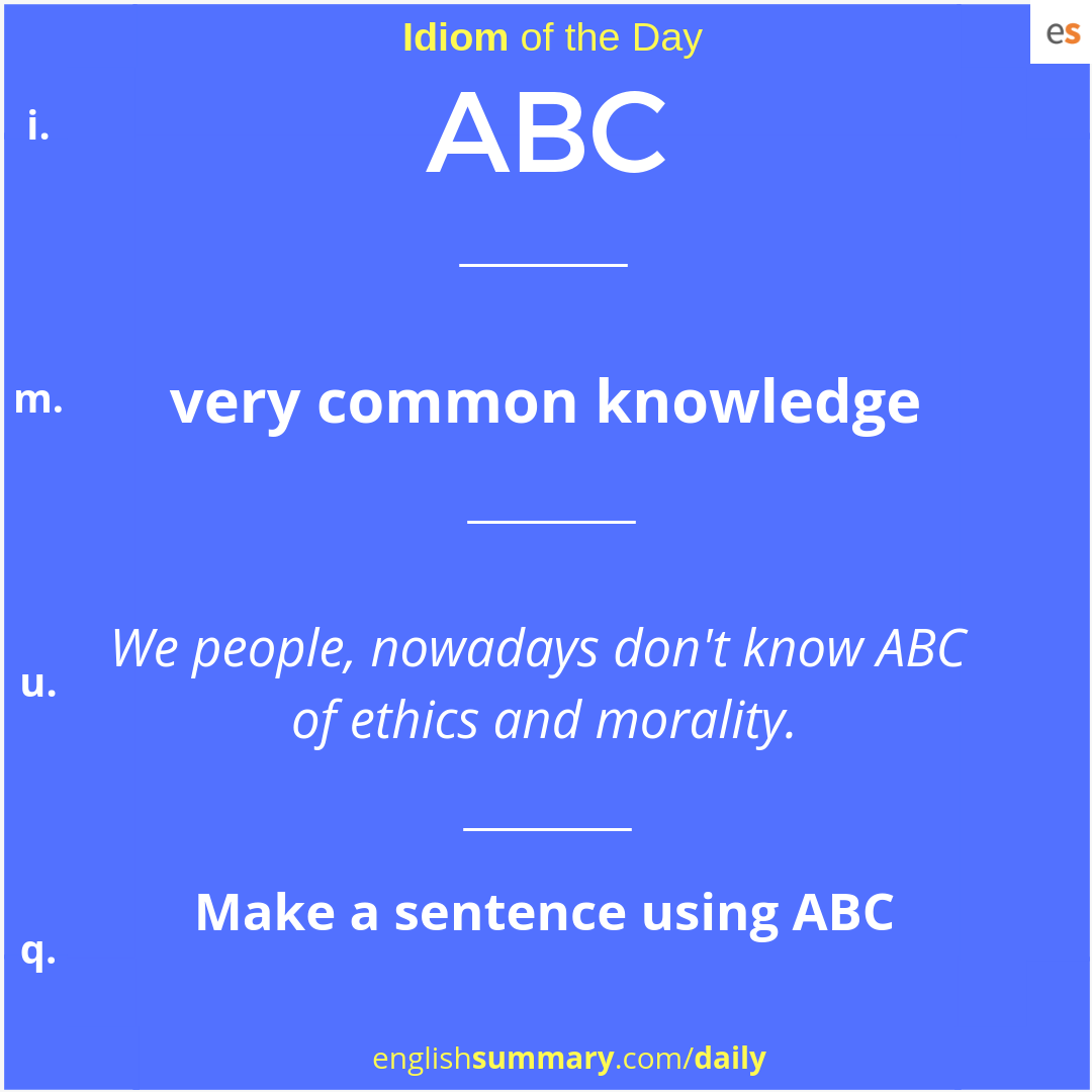 ABC idiom meaning in english  #idiomandphrases | Idioms and
