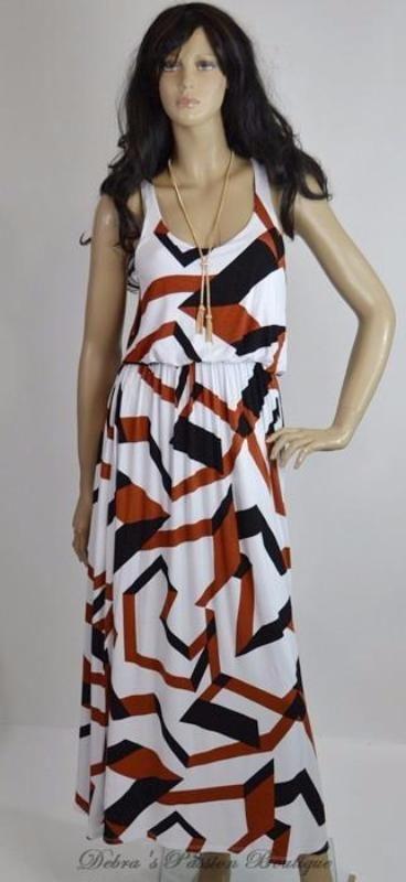 7a1d02008d Dazzling fun geometric print maxi dress, sleeveless, flow-y, elastic waist,