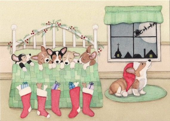 """Pembroke Welsh Corgis"". $12.99. Print created from an original watercolor by award winning artist Cindi Lynch, who is known for her whimsical, highly detailed work. 7 x 5 inch print professionally printed on high quality card stock. Also available as Christmas cards. Measure 5.5 X 4.25. Inside it says ""May your holiday be wondrous and bright"""