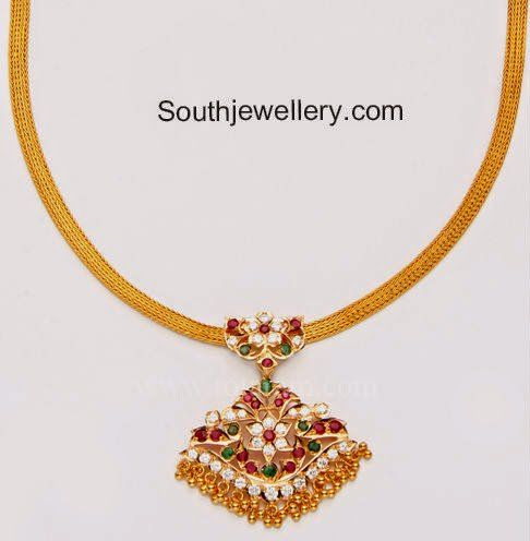 22 Carat Gold Simple Gold Necklace With Attached Stones Pendant