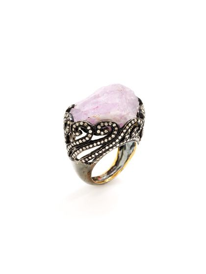 Raw Amethyst & Champagne Diamond Filigree Ring