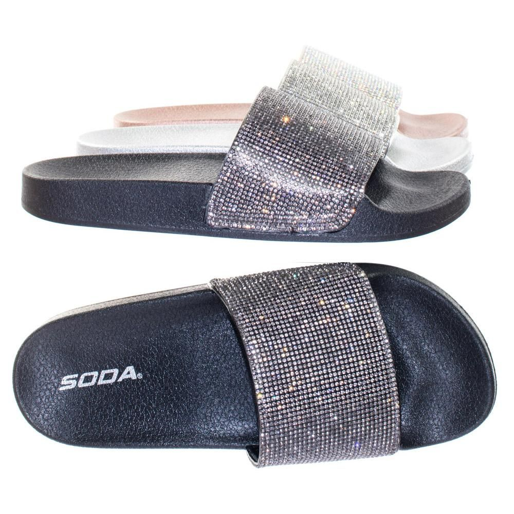 79ae5c3554237a About This Shoes  These slip on sandal features rhinestone crystal  embellished on the large vamp over a molded footbed. Brand - Soda Colors  Available  Black ...