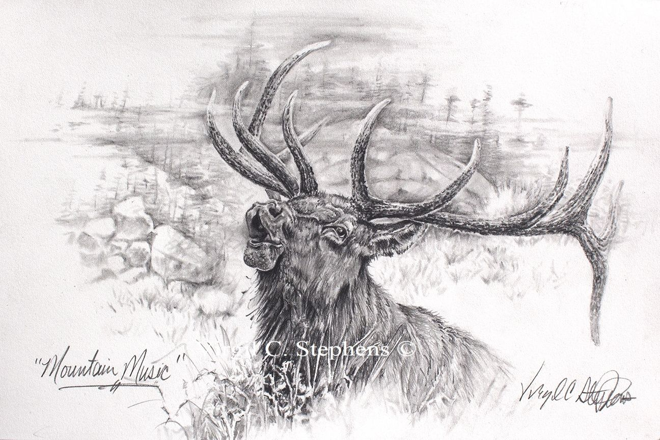 Mountain Music Pencil Drawing By Western Cowboy Artist Virgil C
