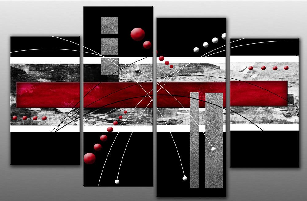 Large Red Black Grey Abstract Canvas Picture Wall Art Split Multi 4 ...