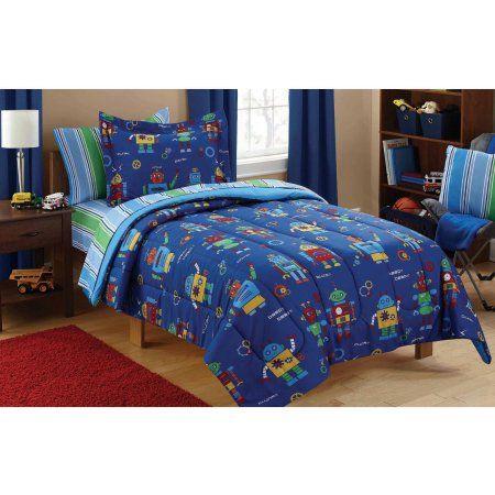 Mainstays Kids Robots Bed In A Bag Bedding Set Walmart Com In 2020 Bedroom Bedding Sets Kids Twin Bedding Sets Twin Bed Sets