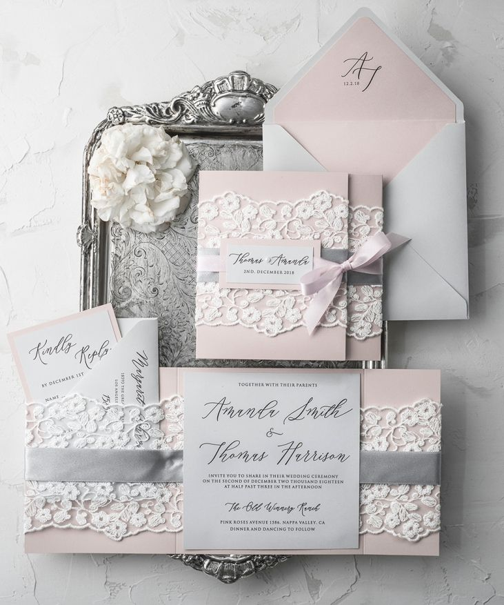 Vintage Lace Affordable Wedding Invitations Elegant Invites Grey and Blush Pink 04/laceWw/z