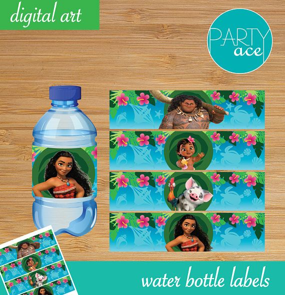 Moana Printable Water Bottle Labels Birthday Decoration