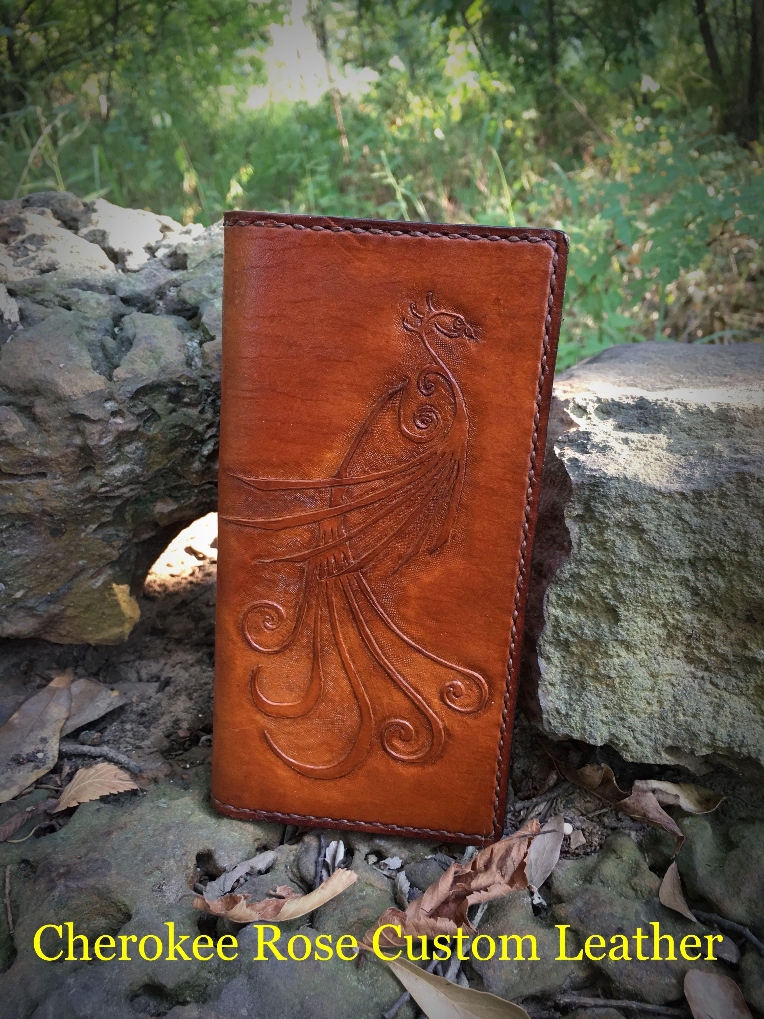 Cherokee Rose Custom Leather Handmade roper style wallet