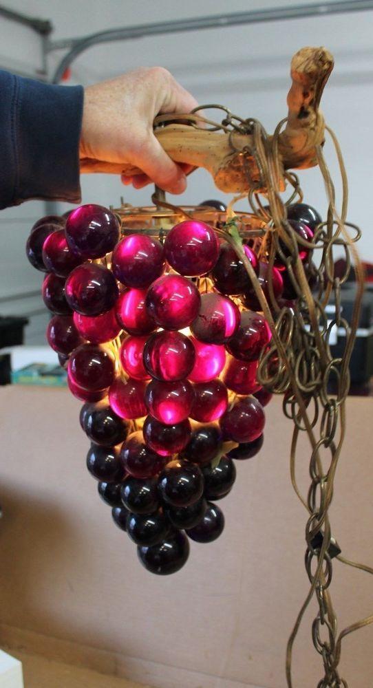 Vintage Purple Lucite Grape Cluster Swag Lamp Light Hanging Fixture Mid Century Grape Decor Swag Lamp Vintage Lamps