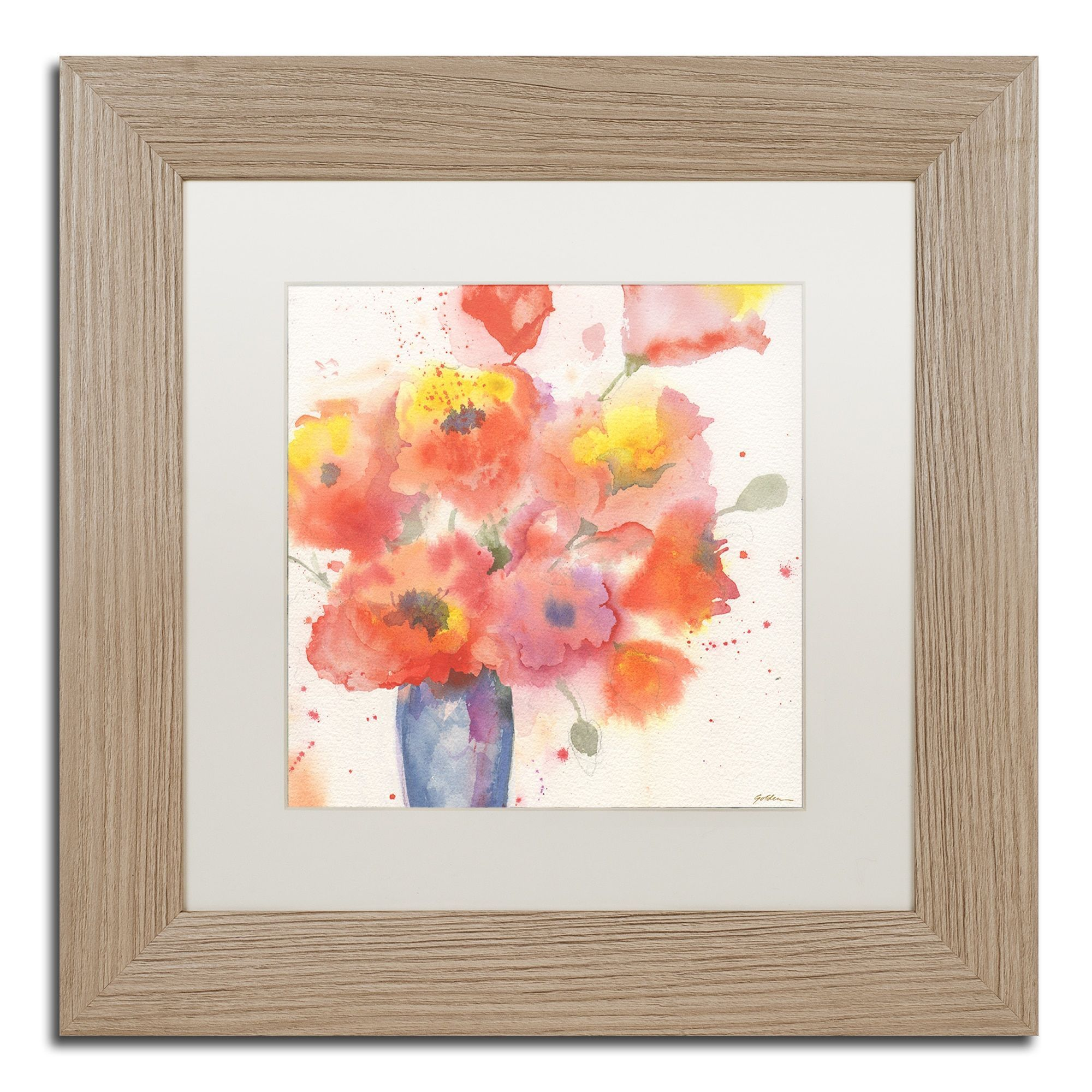 Sheila Golden Vase Of Poppies 5 Matted Framed Art Products