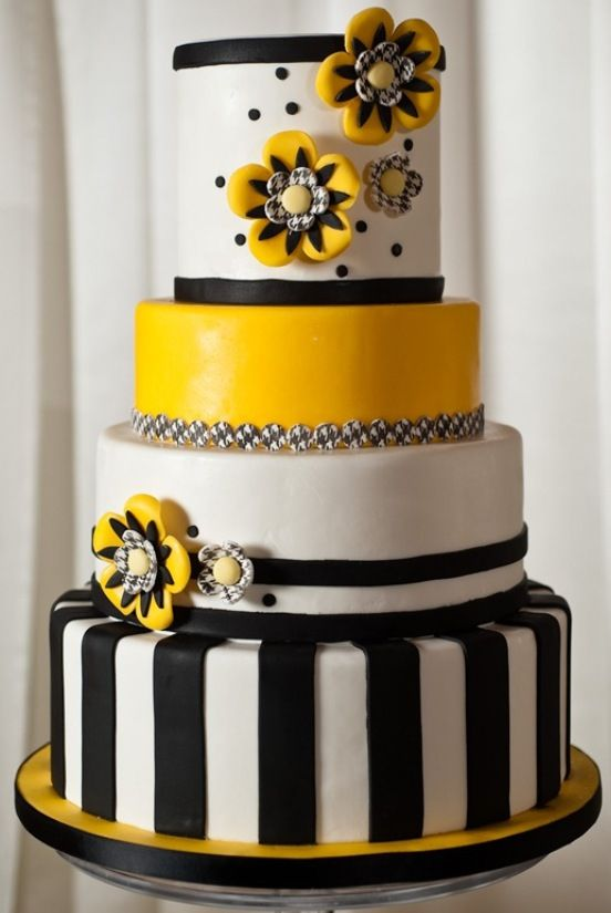 Black White Amp Yellow Cake In 2019 Pretty Cakes