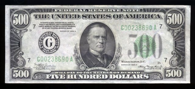 Who face is on the 500 dollar bill