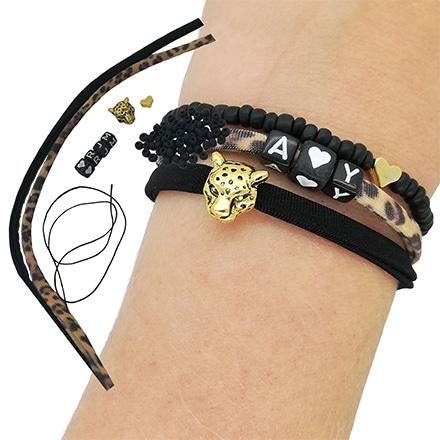 Fonkelnieuw Elastische panter armbandjes DIY pakketje 3 armbanden zelf maken MT-37
