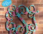 "32"" Interlocking Wooden Monogram Cutout Hand Painted In Personalized Print"