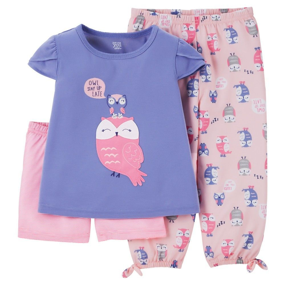 36fca27f7e86 Just One You Made by Carter s Toddler Girls  3-Piece Owl Pajama Set ...