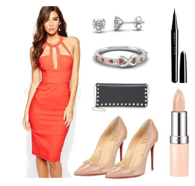 """blooming orange"" by fascinatingdiamonds1 ❤ liked on Polyvore featuring Rare London, Christian Louboutin, Rimmel, Valentino and Marc Jacobs"