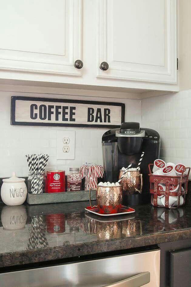 coffee bar in kitchen. love this idea. | kitchen ideas | home decor