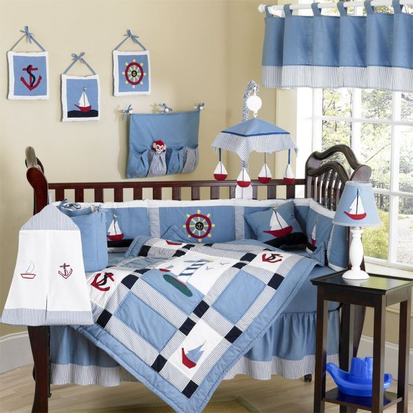 Beautiful Blue Come Sail Away Baby Bedding Set With A Nautical