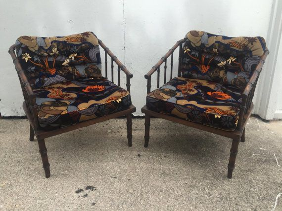 Faux Bamboo Hollywood Regency Armchairs with Original Jack Lenor Larsen Fabric