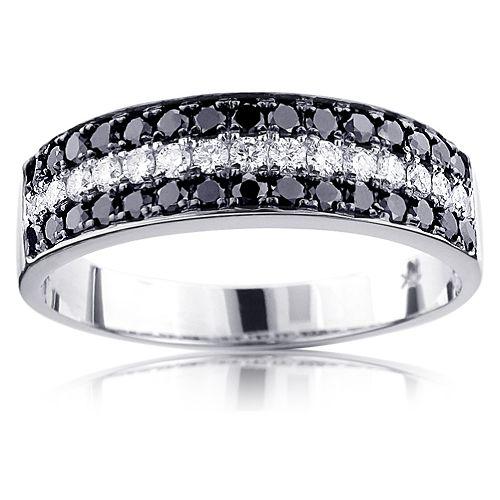 unique 3 row white black diamond wedding band 135ct 10k gold luxurman ring