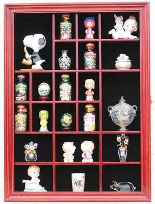 Small Wall Curio Cabinet Miniature Thimble Display Case Shadow Box Frame With Real Gl Door Cherry Finish Unknown