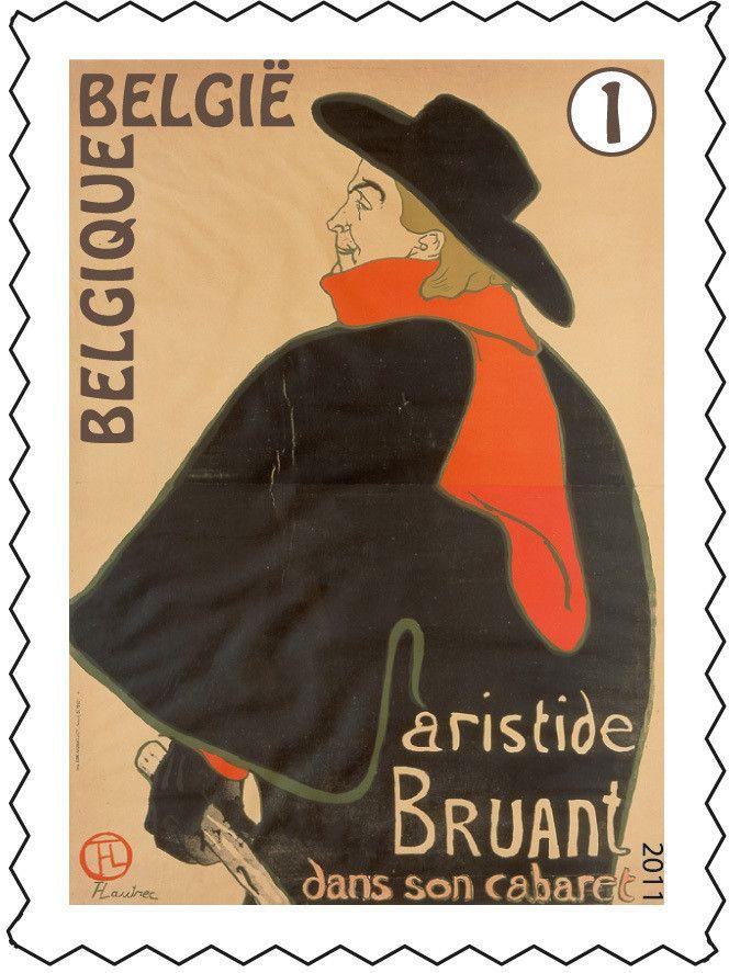 Postzegel: Henri de Toulouse-Lautrec: Aristide Bruant dans son cabaret (België) (Henri de Toulouse-Lautrec) Mi:BE 4192,Yt:BE 4127,Bel:BE 4146