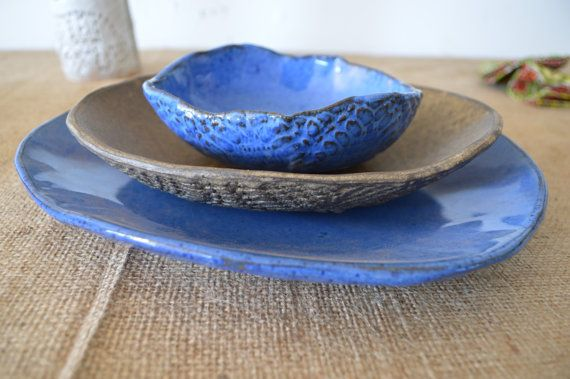 Ceramic dinner plates Blue and Cappuccino by BlueDoorCeramics