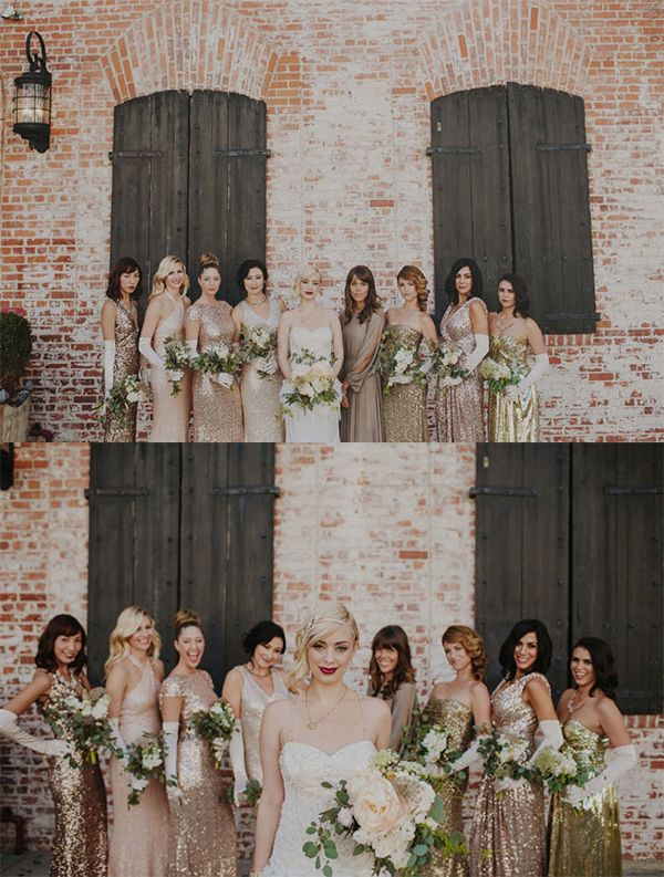 Love This Looks Subtle Hollywood Glamour Shimmery Gold Bridesmaids Vintage Bride With Red Lipstick