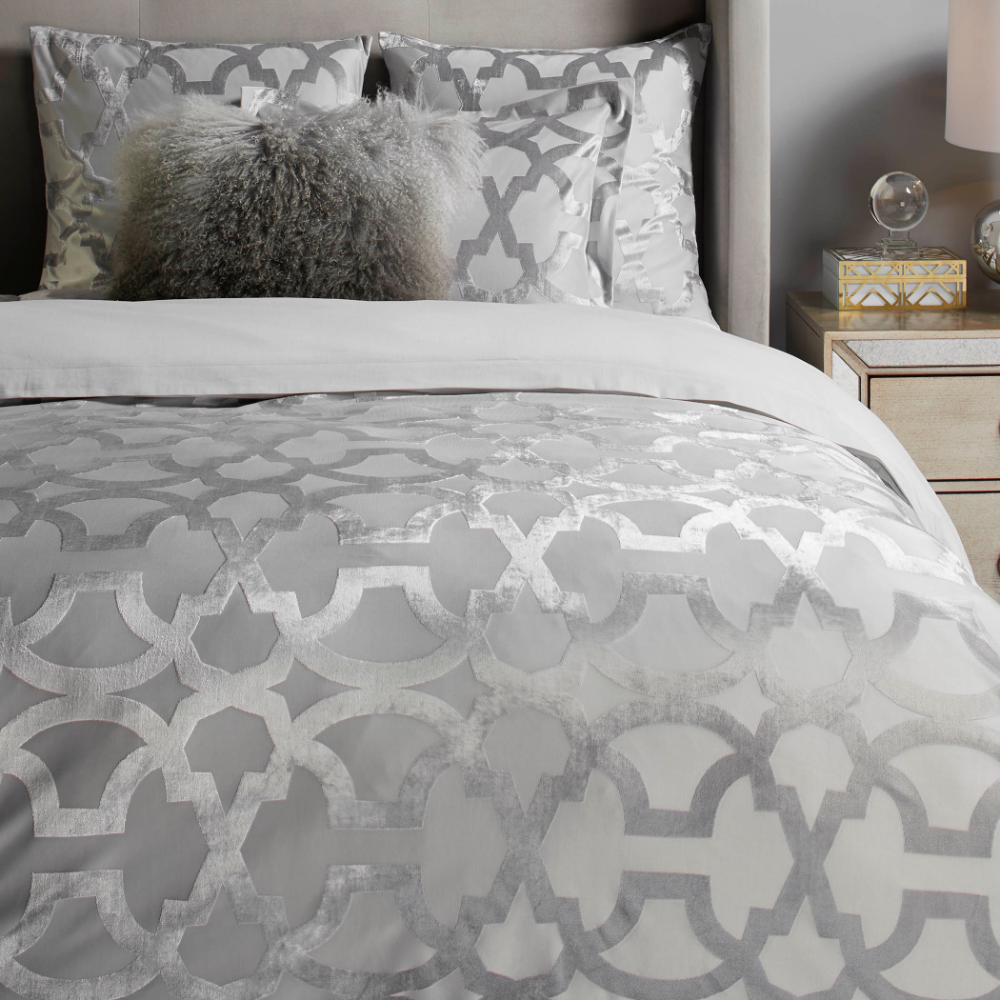 edessa bedding  silver  blakely ares bedroom inspiration