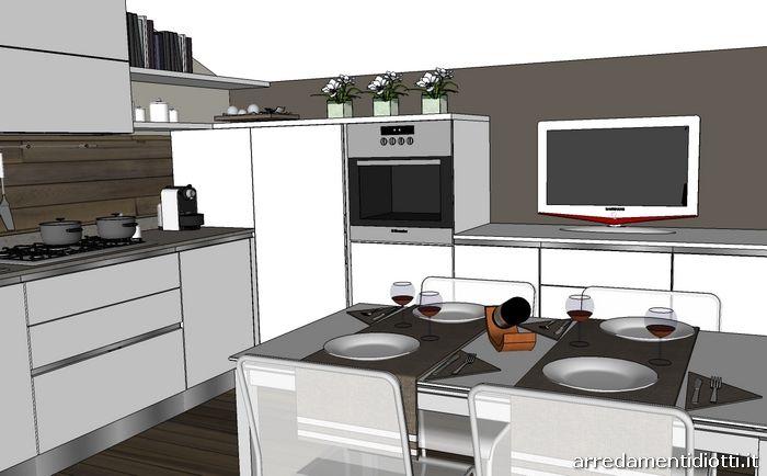 Cucina per mansarda bianca con gola S77 - DIOTTI A&F Arredamenti ...